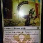 タルキール覇王譚の白レア兵士「Herald of Anafenza」が公開!新能力「Outlast」で自身を強化しつつトークンを生産!日本語版カード名は「アナフェンザの伝令 」!