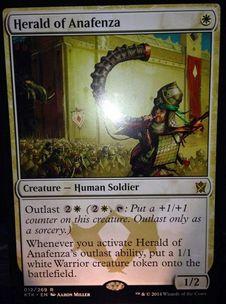 タルキール覇王譚の白レア兵士「Herald of Anafenza」