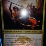 青赤白の神話モンク「Narset, Enlightened Master」が公開!殴るたびに旋風を巻き起こす!日本語版カード名は「悟った達人、ナーセット 」!