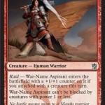 マルドゥの攻撃的軽量クリーチャー「War-Name Aspirant」が公開!獰猛によるサイズアップとブロック制限でダメージを通す!日本語版カード名は「戦名を望む者」!