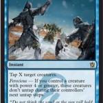 ティムールに属する青のXタップ呪文「Icy Blast」が公開!獰猛状態ならタップだけでなく青タイタンのような凍結状態に!日本語版カード名は「凍氷破」!