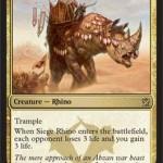 アブザンの多色レアのサイ「Siege Rhino」が公開!戦場に出た際に「本質の吸収」相当のドレイン効果が誘発!日本語版カード名は「包囲サイ 」!