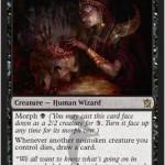 スゥルタイの「Grim Haruspex」が公開!変異から黒1点で表向きになり、クリーチャーが死亡するたびに1ドロー!日本語版カード名は「不気味な腸卜師」!