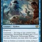 統率者2014の青レア「Stormsurge Kraken」公開!副官発動時にはブロックされると2ドロー!日本語名は「うねり嵐のクラーケン」!