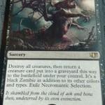 統率者2014の黒レア「Necromantic Selection」が流出!全体除去&このカードで破壊されたクリーチャーをゾンビ化して蘇生!日本語名は「屍術淘汰」!