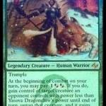 MTG「運命再編」のティムールの伝説レア「Yasova Dragonclaw」が先行公開!戦闘開始時に相手のクリーチャーをコントロール奪取!日本語名は「龍爪のヤソヴァ」!