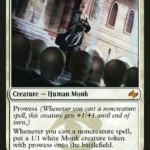 ジェスカイの白神話「Monastery Mentor」が非公式スポイラーにて公開!果敢のタイミングで果敢持ちの1/1トークンを製造!日本語名は「僧院の導師」!