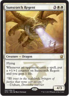ドロモカの氏族の白レアドラゴン「Sunscorch Regent」(MTG タルキール龍紀伝)