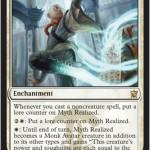 白1マナのレアエンチャント「Myth Realized」が公開!貯めたカウンターの数のP/Tを持つモンク・アバターに変身!日本語名は「神話実現」!