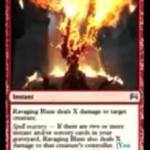 デュエルズオリジンの公式PVよりX火力「Ravaging Blaze」が判明!条件達成で生物&プレイヤーにX点のダメージを飛ばす!※日本語名は「残虐無道の猛火」!