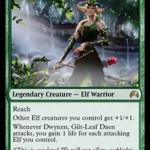 緑レア生物「Dwynen, Gilt-Leaf Daen」が非公式スポイラーで公開!マジック・オリジンに収録のエルフロード!日本語名は「光り葉の将帥、ドゥイネン」!
