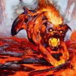 黒赤アンコ生物「Blazing Hellhound(マジック・オリジン)」が公開!クリーチャーを1点火力に変換!日本語名は「猛火のヘルハウンド」!
