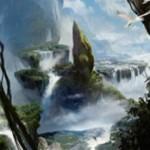 青緑の対抗色ミシュラランド「伐採地の滝」が戦乱のゼンディカーに収録!4マナ払うと3/3の呪禁持ちエレメンタルに!