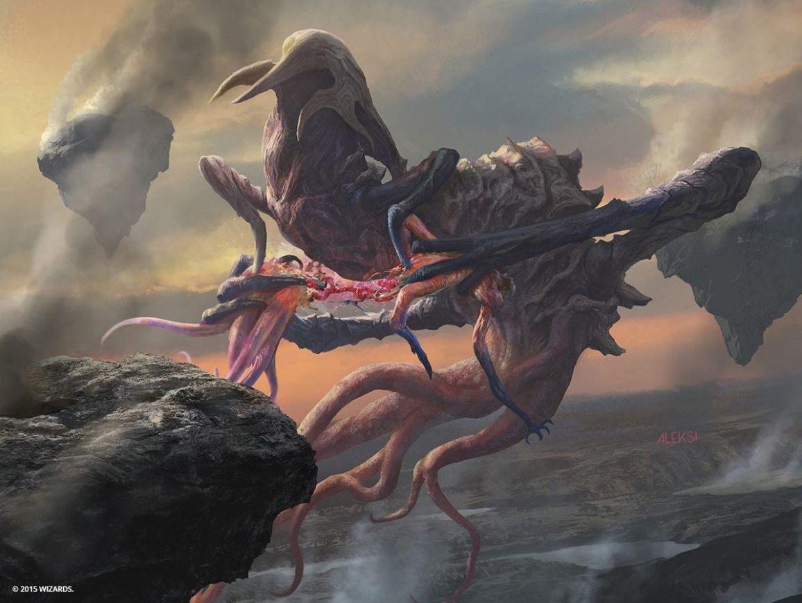 エルドラージ「息詰まる忌まわしきもの」のフルアートイラスト(戦乱のゼンディカー)