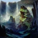 戦乱のゼンディカーにプレミアム神話レアで収録の「窪み渓谷(Sunken Hollow)」がカードイラスト公開!島と沼のタイプを有する新デュアルランド!