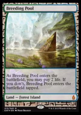 繁殖池(Breeding Pool)(戦乱のゼンディカー プレミアム神話レア Zendikar Expeditions)