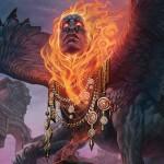 青赤の伝説神話スフィンクス「Arjun, the Shifting Flame(統率者2015)」が公開!全ての呪文に手札交換の効果を付与!※日本語版カード「変容する炎、アルジュン」が公開!