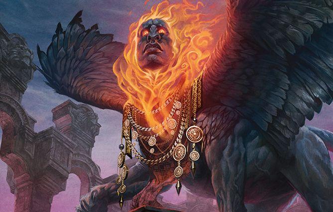 青赤の伝説神話スフィンクス「Arjun, the Shifting Flame(統率者2015)」