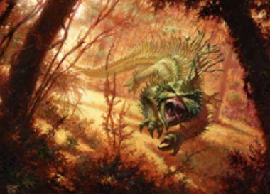 緑レアのトカゲ「Bloodspore Thrinax(統率者2015)」