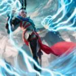 イゼット色のアンコ生物「Stormchaser Mage」が公開!飛行&速攻&果敢を有する2マナの人間ウィザード!※日本語名は「嵐追いの魔道士」!