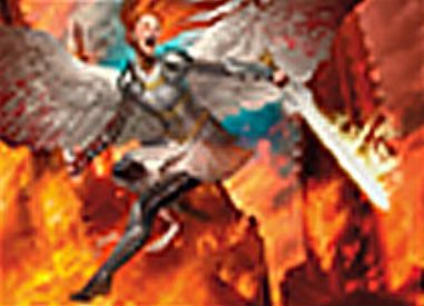 赤のエントリーレア「Flameblade Angel」(イニストラードを覆う影)