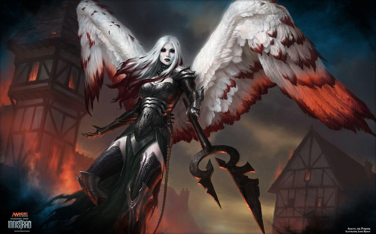 イニストラードを覆う影の神話天使「浄化の天使、アヴァシン」(MTG公式壁紙)