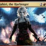 白赤神話のPWナヒリ「Nahiri, the Harbinger」がイニストラードを覆う影に収録!手札交換&置物追放&ライブラリーからクリーチャーかアーティファクトを戦場へ!※日本語名は「先駆ける者、ナヒリ」!