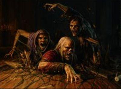 黒レアのソーサリー「床下から(イニストラードを覆う影)」