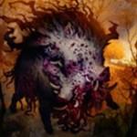 異界月の神話エルドラージ猪「Decimator of Pronvinces」が公開!現出でコスト軽減&速攻&トランプル&唱えた時点で自軍を全体強化してトランプルも付与!※日本語名は「州民を滅ぼすもの」!