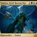 バントカラーの新タミヨウ「Tamiyo, Field Researcher」が異界月に神話レア収録!クリーチャーにドロー効果付与&非土地パーマネントをタップしアンタップ阻害&3ドローしつつ以降の呪文マナを不要に!※日本語名は「実地研究者、タミヨウ」!
