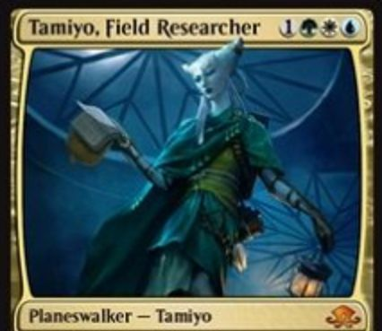 バントカラーの新タミヨウ「Tamiyo, Field Researcher」が異界月に神話レア収録!2体のクリーチャーを「カササギ」に&非土地パーマネントをタップしアンタップ阻害&3ドローしつつ以降の呪文マナを不要に!