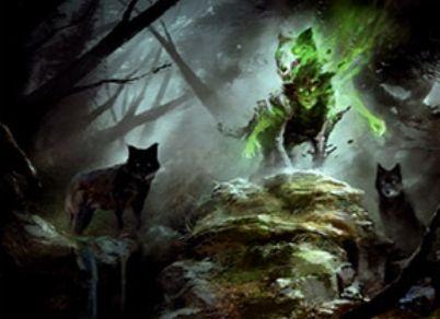 異界月にレア収録の緑スピリット狼「Spirit of the Hunt」が公開!瞬速&CIPで狼や狼男のタフネスを3増強!