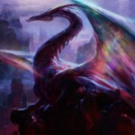 赤神話ドラゴン「Mirrorwing Dragon」が異界月に収録!このクリーチャー単体を対象に取る呪文は、呪文のコントローラーの戦場全体にもコピーされる!※日本語名は「鏡翼のドラゴン」!
