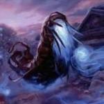 異界月にレア収録の青いスピリット「Mausoleum Wanderer」が公開!飛行&他のスピリットが自戦場に出るたびにPT増強&自身を生贄にインスタントかソーサリーに追加マナ要求して打ち消し!※日本語名は「霊廟の放浪者」!