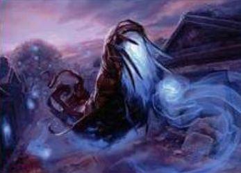異界月にレア収録の青いスピリット「Mausoleum Wanderer」が公開!飛行&他のスピリットが自戦場に出るたびにPT増強&自身を生贄にインスタントかソーサリーに追加マナ要求して打ち消し!