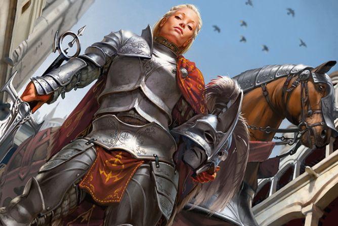 ボロスカラーの伝説の騎士「護衛隊長アドリアナ」が公開!5マナ4/4「会戦」&他の自軍クリーチャーにも「会戦」を付与!