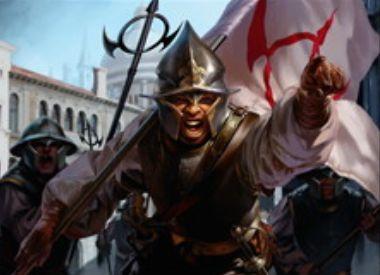 王位争奪に収録のレア兵士「パリアノの先兵」が公開!表向きでドラフトし、クリーチャーをピックした際にタイプを記録しつつ裏向きにすることで、そのタイプのクリーチャーを全体強化!