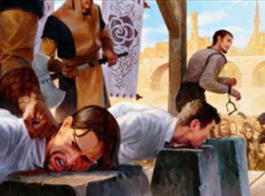 王位争奪に収録される黒レアのソーサリー「Capital Punishment」が非公式スポイラーで公開!能力「動議」で「死」か「税」を全員が選び、全対戦相手に「死」の数だけクリーチャーの生贄を、「税」の数だけハンデスを要求!