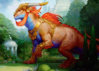 緑レアのトカゲ「Regal Behemoth(王位争奪)」が公開!CIPで「統治者」獲得&「統治者」である限り、土地は追加で好きな色マナを産む!