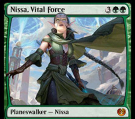 カラデシュ収録の新ニッサ「Nissa, Vital Force」が公開!土地を5/5エレメンタル化&墓地のパーマネント回収&土地が出るたびドローできる紋章を獲得!