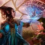 伝説神話のドルイド「Rashmi, Eternities Crafter(カラデシュ)」が公開!毎ターン最初の呪文を唱えるたび、ライブラリートップがその呪文のマナコスト以下の非土地カードならばコスト不要でプレイ可能に!※日本語名は「永遠の造り手、ラシュミ」!