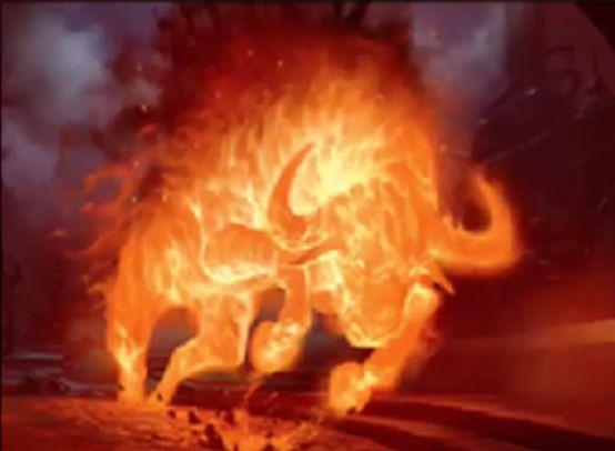 統率者2016にレアで収録の赤エレメンタル「Assault Igneous-Horn」が公開!自ターンに攻撃しなかったプレイヤーが出るたびにカウンターを貯め、カウンター数分のダメージをそのプレイヤーに飛ばす!
