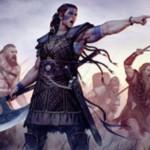 青以外4色の伝説神話兵士「不撓のサスキア」が統率者2016に収録!4マナ3/4で速攻&警戒を持ち、CIPで選んだプレイヤーに対するダメージ効果も有する!