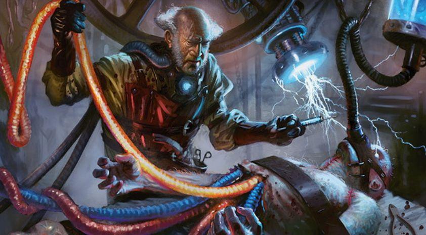 イゼット色の伝説神話ウィザード「屍錬金術師、ルーデヴィック」が公開!各プレイヤーの終了ステップに、あなた以外がそのターンにライフを失っていたらドローを付与し、他の統率者と「共闘」も出来る!