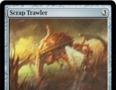 霊気紛争のレア機械生物「Scrap Trawler」がサルベにてテキスト解読!アーティファクトが戦場から墓地に置かれると、点数で見たマナコストが低いアーティファクトを手札に回収!
