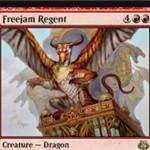 霊気紛争に収録される赤レアドラゴン「Freejam Regent」が公開!能力「即席」でマナコストを軽減する6マナ4/4「飛行」の火吹き能力持ちドラゴン!※日本語名は「無秩序街の主」!