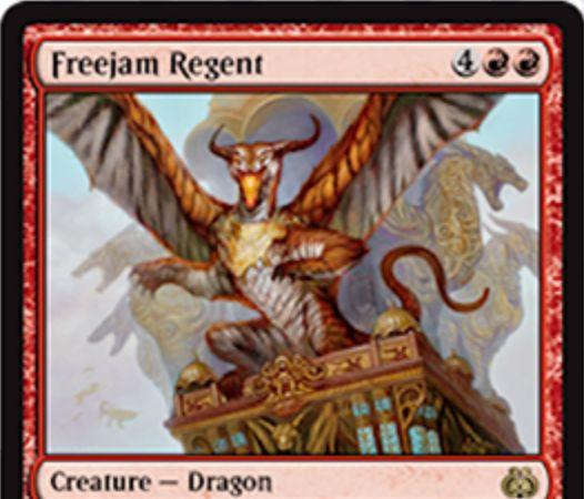 霊気紛争に収録される赤レアドラゴン「Freejam Regent」が公開!能力「即席」でマナコストを軽減する6マナ4/4「飛行」の火吹き能力持ちドラゴン!