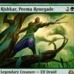 伝説のエルフドルイド「Rishkar, Peema Renegade」が霊気紛争に収録!CIPでクリーチャー2体までを対象に+1/+1カウンターを付与!さらに、カウンター持ちのクリーチャーに緑マナ生産能力を付与!※日本語名は「ピーマの改革派、リシュカー」!