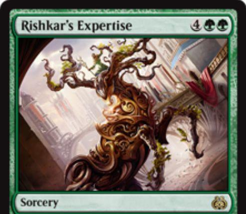 緑レアのソーサリー「リシュカーの巧技(Rishkar's Expertise)」が霊気紛争に収録!自軍の最大パワー点数だけカードをドローしつつ、マナコスト5点以下の呪文を無料プレイ!