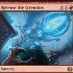 霊気紛争に収録の赤レアソーサリー「Release the Gremlins」が公開!赤XXで唱えてX個のアーティファクトを破壊し、X個の2/2グレムリン・トークンを生成!※日本語名は「グレムリン解放」!